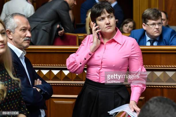 Nadia Savchenko Ukrainian pilot member of the Ukrainian parliament during a parliament session in Kyiv Ukraine on 9 June 2017