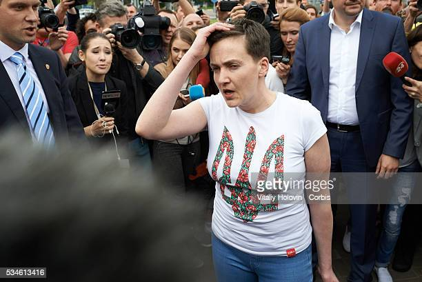Nadia Savchenko Ukrainian pilot member of the Ukrainian parliament and member of the Ukrainian delegation to PACE speaks with journalists after...