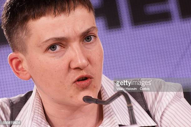 Nadia Savchenko Ukrainian pilot member of the Ukrainian parliament and member of the Ukrainian delegation to PACE attends a press conference on May...