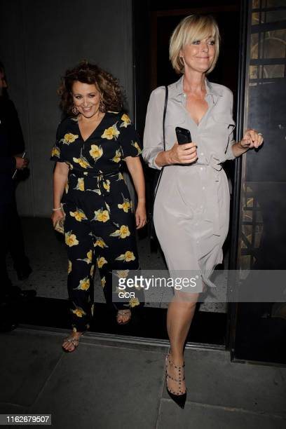 Nadia Sawalha and Jane Moore seen leaving the ITV Summer party at Nobu Shoreditch on July 17 2019 in London England