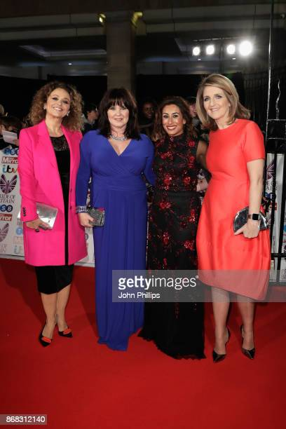 Nadia Sawalha Coleen Nolan Saira Khan and Kaye Adams attend the Pride Of Britain Awards at Grosvenor House on October 30 2017 in London England