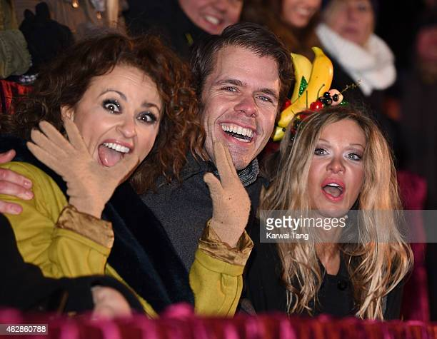 Nadia Sawalha Perez Hilton and Alicia Douvall attend the final of Celebrity Big Brother at Elstree Studios on February 6 2015 in Borehamwood England