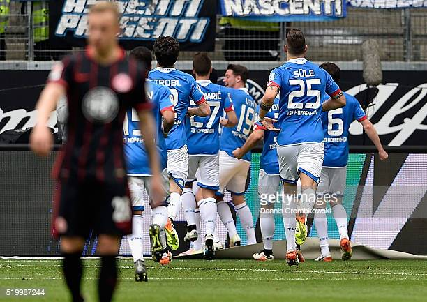 Nadiem Amiri of 1899 Hoffenheim celebrates the first goal during the Bundesliga match between Eintracht Frankfurt and 1899 Hoffenheim at...