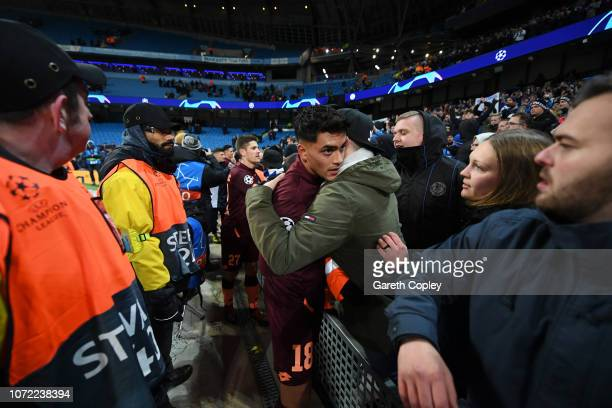 Nadiem Amiri of 1899 Hoffenheim with fans after the match during the UEFA Champions League Group F match between Manchester City and TSG 1899...