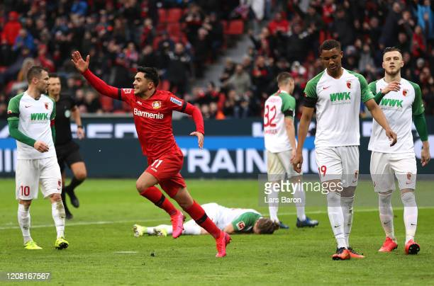Nadiem Amiri of Bayer 04 Leverkusen celebrates after scoring his team's second goal during the Bundesliga match between Bayer 04 Leverkusen and FC...