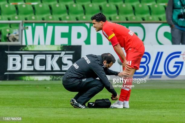 Nadiem Amiri of Bayer 04 Leverkusen injured during the Bundesliga match between SV Werder Bremen and Bayer 04 Leverkusen at Wohninvest Weserstadion...
