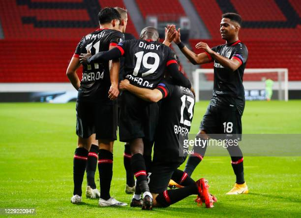 Nadiem Amiri of Bayer Leverkusen celebrates scoring their first goal during the UEFA Europa League Group C stage match between Bayer 04 Leverkusen...