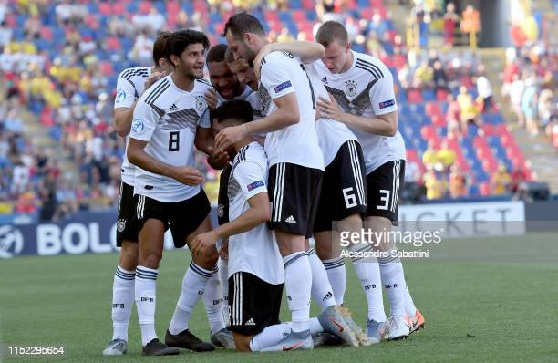 Nadiem Amiri of Germany celebrates after scoring the opening goal during the 2019 UEFA U21 SemiFinal match between Germany and Romania at Stadio...