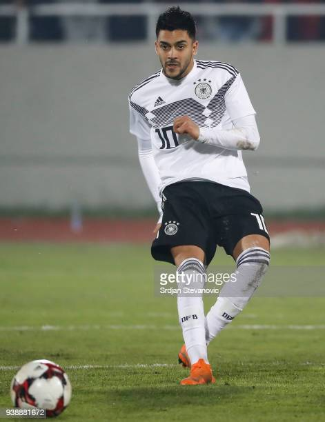Nadiem Amiri of Germany in action during the 2019 UEFA Under21 European Championship qualifier match between Kosovo U21 and Germany U21 at...
