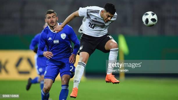 Nadiem Amiri of Germany is challenged by Yosef Raz Meir of Israel during the 2019 UEFA Under21 European Championship qualifier match between U21...