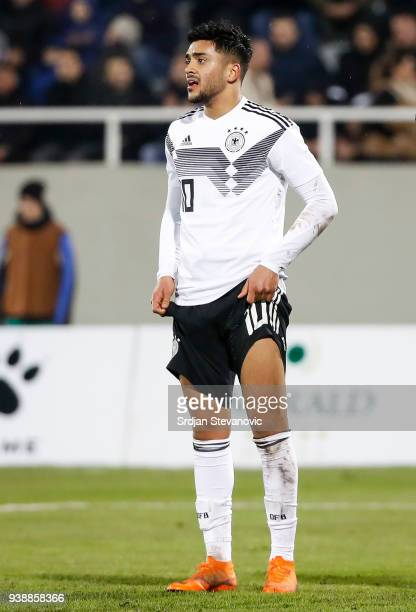 Nadiem Amiri of Germany reacts during the 2019 UEFA Under21 European Championship qualifier match between Kosovo U21 and Germany U21 at...