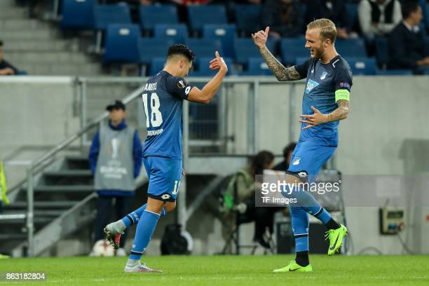 Nadiem Amiri of Hoffenheim celebrates after scoring his team`s second goal with team mate Kevin Vogt of Hoffenheim during the UEFA Europa League...