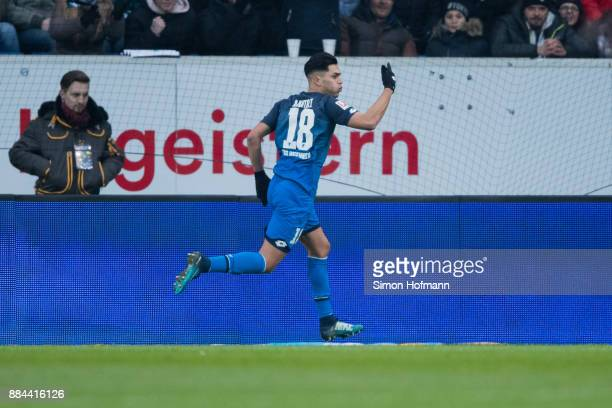 Nadiem Amiri of Hoffenheim celebrates his team's first goal during the Bundesliga match between TSG 1899 Hoffenheim and RB Leipzig at Wirsol...