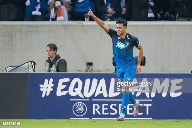 Nadiem Amiri of Hoffenheim celebrates his team's second goal during the UEFA Europa League group C match between 1899 Hoffenheim and Istanbul...