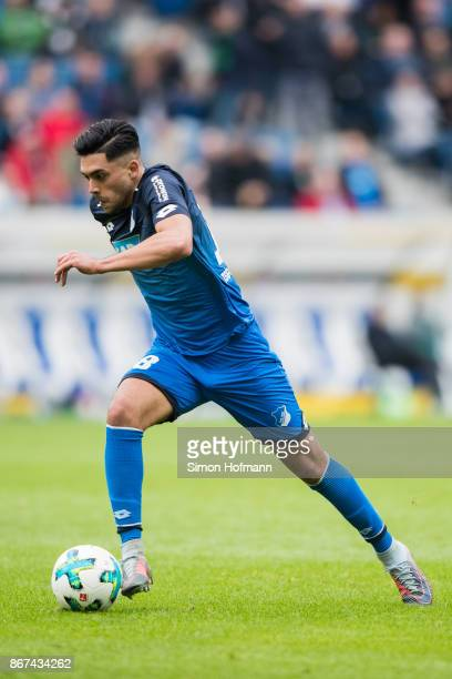 Nadiem Amiri of Hoffenheim controls the ball during the Bundesliga match between TSG 1899 Hoffenheim and Borussia Moenchengladbach at Wirsol...
