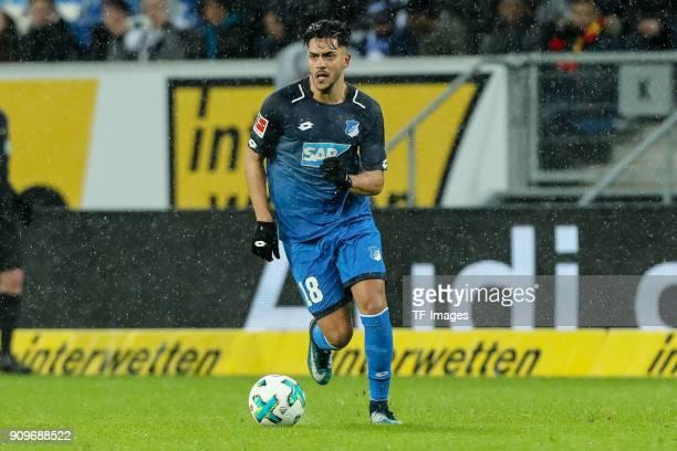Nadiem Amiri of Hoffenheim controls the ball during the Bundesliga match between TSG 1899 Hoffenheim and Bayer 04 Leverkusen at RheinNeckarArena on...