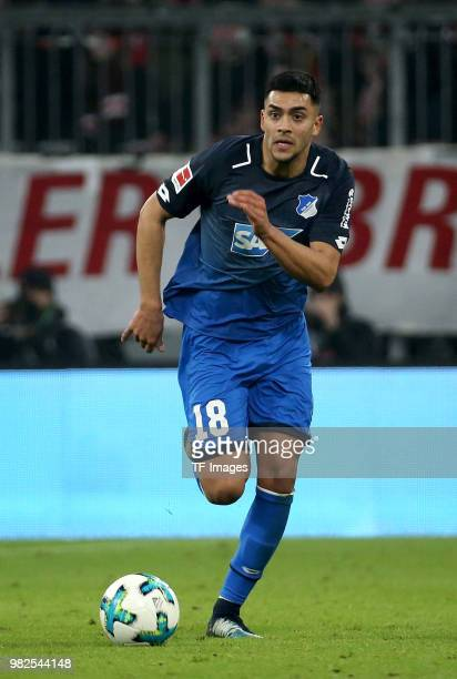 Nadiem Amiri of Hoffenheim controls the ball during the Bundesliga match between FC Bayern Muenchen and TSG 1899 Hoffenheim at Allianz Arena on...