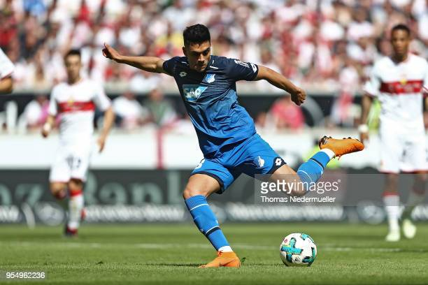 Nadiem Amiri of #Hoffenheim in action with the ball during the Bundesliga match between VfB Stuttgart and TSG 1899 Hoffenheim at MercedesBenz Arena...