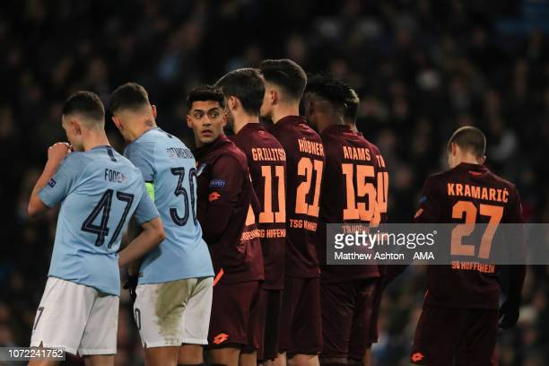 Nadiem Amiri of Hoffenheim looking back in the wall during the UEFA Champions League Group F match between Manchester City and TSG 1899 Hoffenheim at...