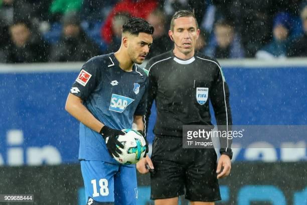 Nadiem Amiri of Hoffenheim looks on during the Bundesliga match between TSG 1899 Hoffenheim and Bayer 04 Leverkusen at RheinNeckarArena on January 20...