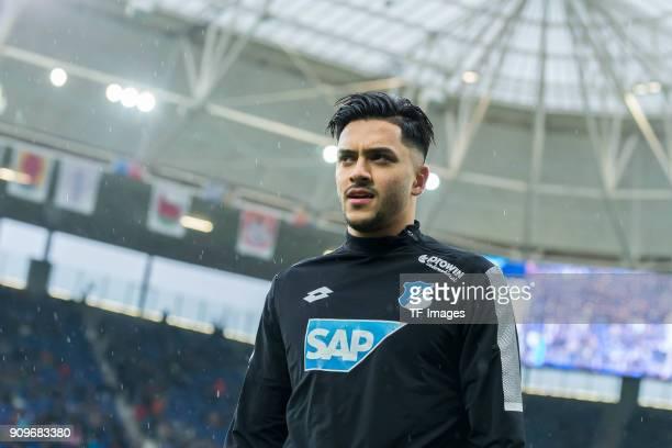 Nadiem Amiri of Hoffenheim looks on prior to the Bundesliga match between TSG 1899 Hoffenheim and Bayer 04 Leverkusen at RheinNeckarArena on January...
