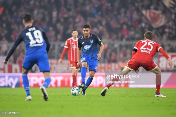 Nadiem Amiri of Hoffenheim plays the ball during the Bundesliga match between FC Bayern Muenchen and TSG 1899 Hoffenheim at Allianz Arena on January...