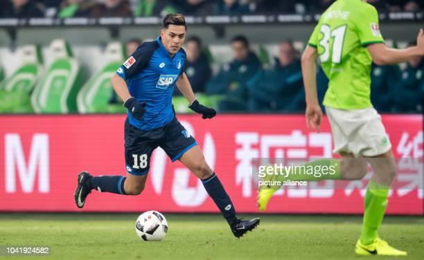 Nadiem Amiri of Hoffenheim plays the ball during the German Bundesliga soccer match between VfL Wolfsburg and TSG 1899 Hoffenheim at the Volkswagen...