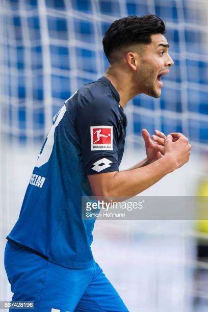Nadiem Amiri of Hoffenheim reacts during the Bundesliga match between TSG 1899 Hoffenheim and Borussia Moenchengladbach at Wirsol RheinNeckarArena on...