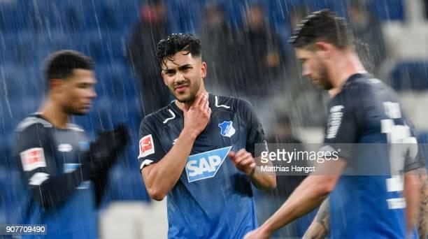 Nadiem Amiri of Hoffenheim reacts during the Bundesliga match between TSG 1899 Hoffenheim and Bayer 04 Leverkusen at Wirsol RheinNeckarArena on...
