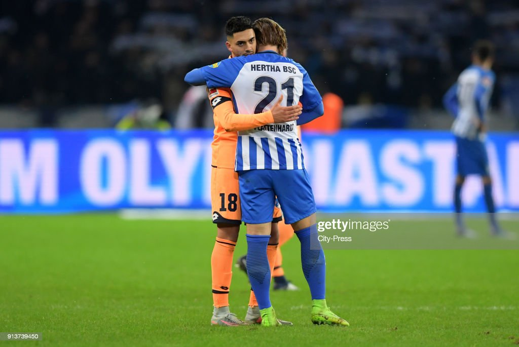 Nadiem Amiri of the TSG 1899 Hoffenheim and Marvin Plattenhardt of Hertha BSC after the game between Hertha BSC and TSG Hoffenheim on february 3, 2018 in Berlin, Germany.