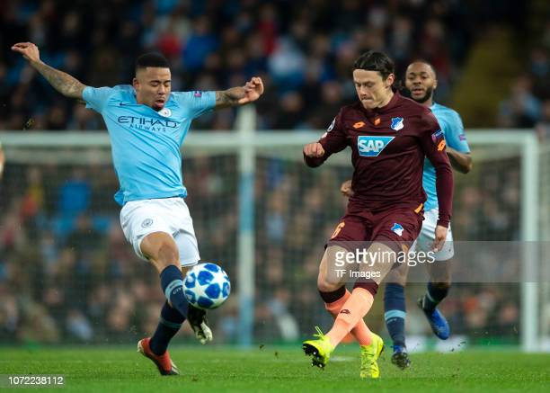 Nadiem Amiri of TSG Hoffenheim and Gabriel Jesus of Manchester City battle for the ball during the UEFA Champions League Group F match between...