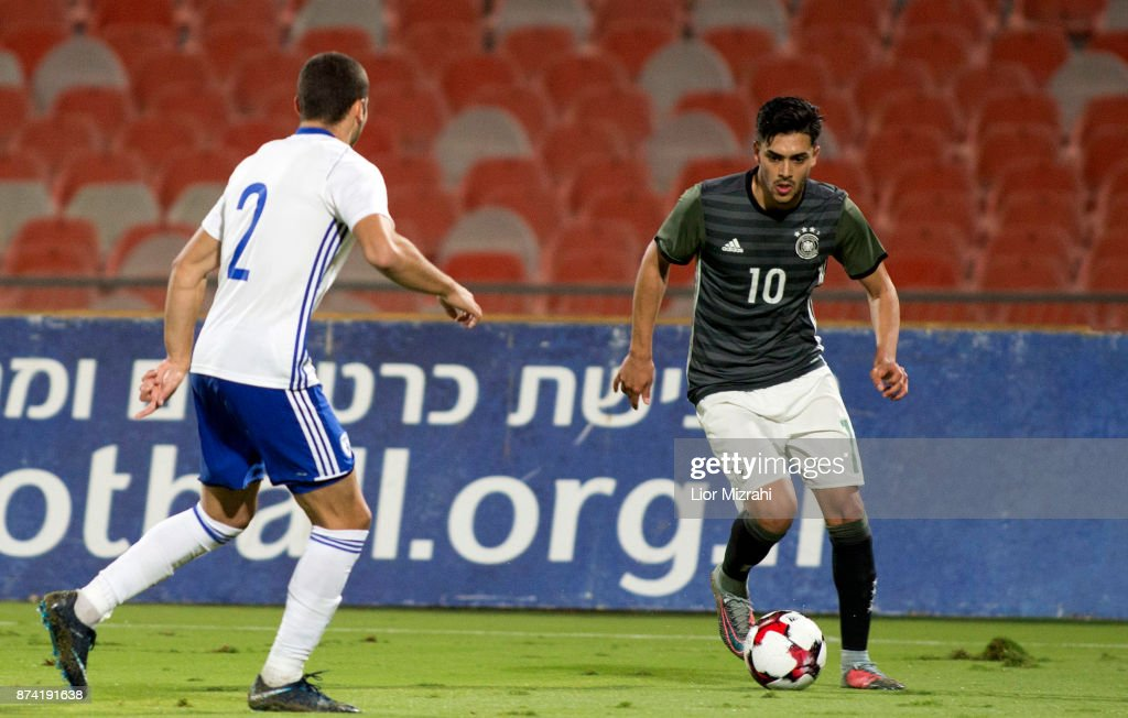 Nadien Amiri of Germany vies with Yosef Raz Meir of Israel during the UEFA Under21 Euro 2019 Qualifier on November 14, 2017 in Ramat Gan, Israel.