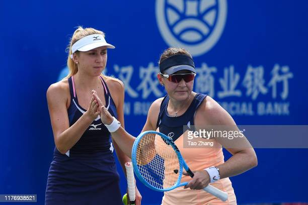 Nadiia Kichenok of Ukraine and Abigail Spears of the USA reacts during the match against Su Wei Hsieh of Chinese Taipei and playing partner Barbora...