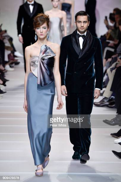 Nadine Ammeraal walks the runway during the Giorgio Armani Prive Spring Summer 2018 show as part of Paris Fashion Week on January 23 2018 in Paris...