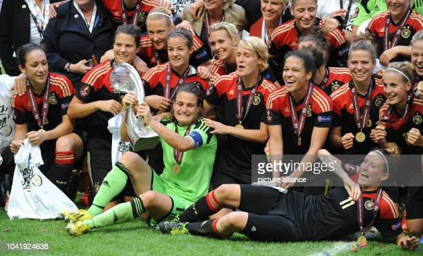 Nadine Angerer and Anja Miitag of Germany celebrate with her team he victory of the UEFA Women«s EURO 2013 final soccer match between Germany and...