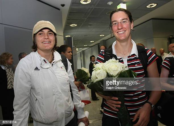 Nadine Angerer and Birgit Prinz of Germany's women football national team arrived from the 2008 Beijing Olympic Games at Frankfurt airport 2008 in...