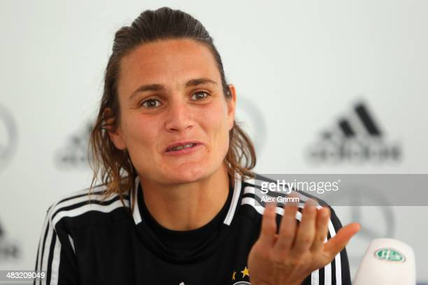 Nadine Angerer attends a Germany press conference at the CarlBenzStadion on April 7 2014 in Mannheim Germany