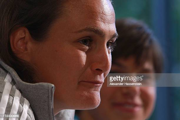 Nadine Angerer attends with her team mate Ariane Hingst of the German woman national team a press conference at the adidas headquater on May 19 2011...