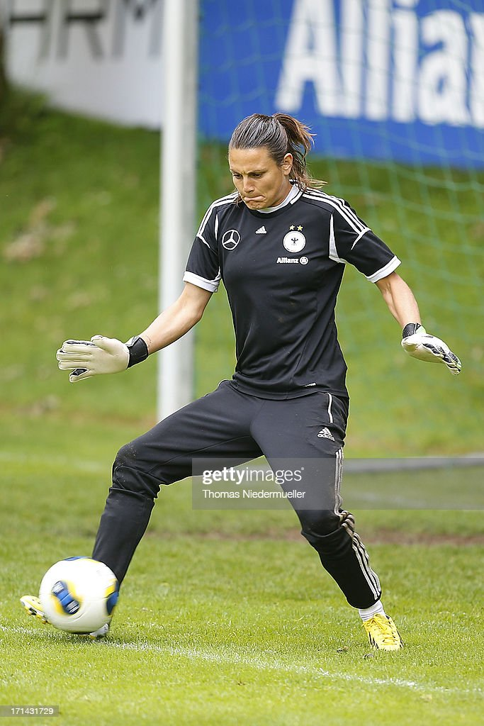 Nadine Angerer controls the ball during the German women's national team training session at HVB Club Sportzentrum on June 24, 2013 in Munich, Germany.