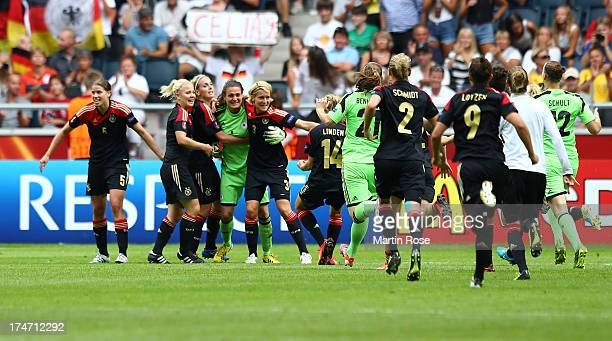 Nadine Angerer goalkeeper of Germany celebrate with her team mates after the UEFA Women's EURO 2013 final match between Germany and Norway at Friends...