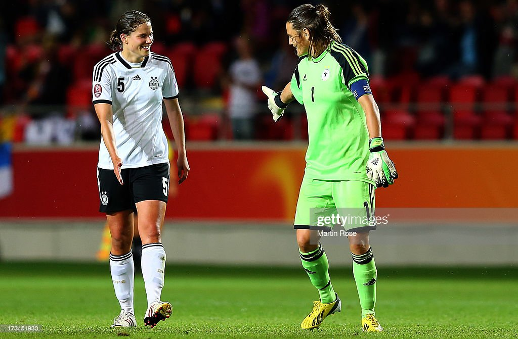 Nadine Angerer (R), goalkeeper of Germany celebrate with team mate Annike Krahn (R) during the UEFA Women's Euro 2013 group B match between Iceland and Germany at Vaxjo Arena on July 14, 2013 in Vaxjo, Sweden.