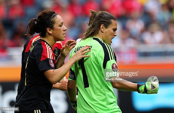 Nadine Angerer , goalkeeper of Germany celebrates after she saves the penalty shot of Trine Roenning of Norway during the UEFA Women's EURO 2013...