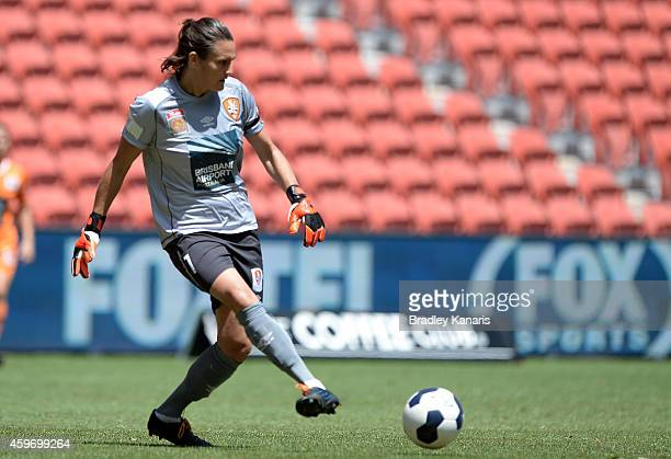 Nadine Angerer of Brisbane kicks the ball during the round 11 WLeague match between Brisbane Roar and Canberra United at Suncorp Stadium on November...