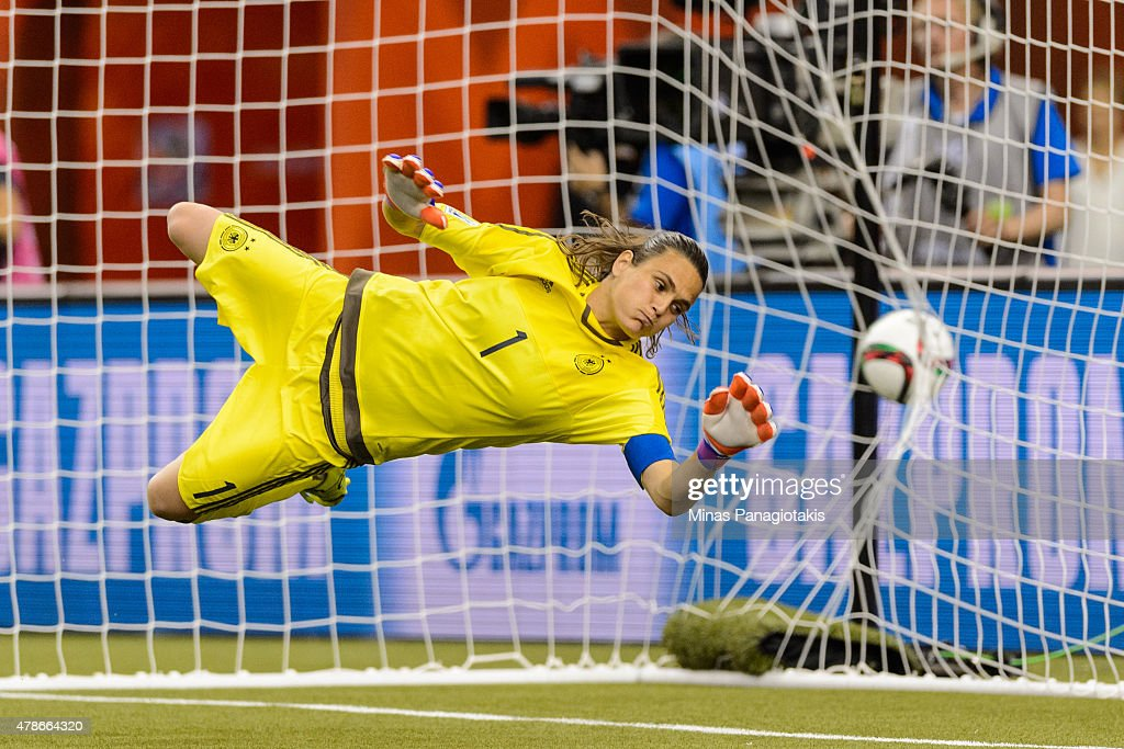 Nadine Angerer #1 of Germany allows a goal on a penalty kick during the 2015 FIFA Women's World Cup quarter final match against France at Olympic Stadium on June 26, 2015 in Montreal, Quebec, Canada. Germany defeated France 5-4 on penalty kicks and move to the semifinal round.