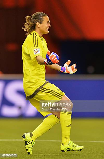 Nadine Angerer of Germany celebrates making her penalty save during the quarter final match of the FIFA Women's World Cup between Germany and France...