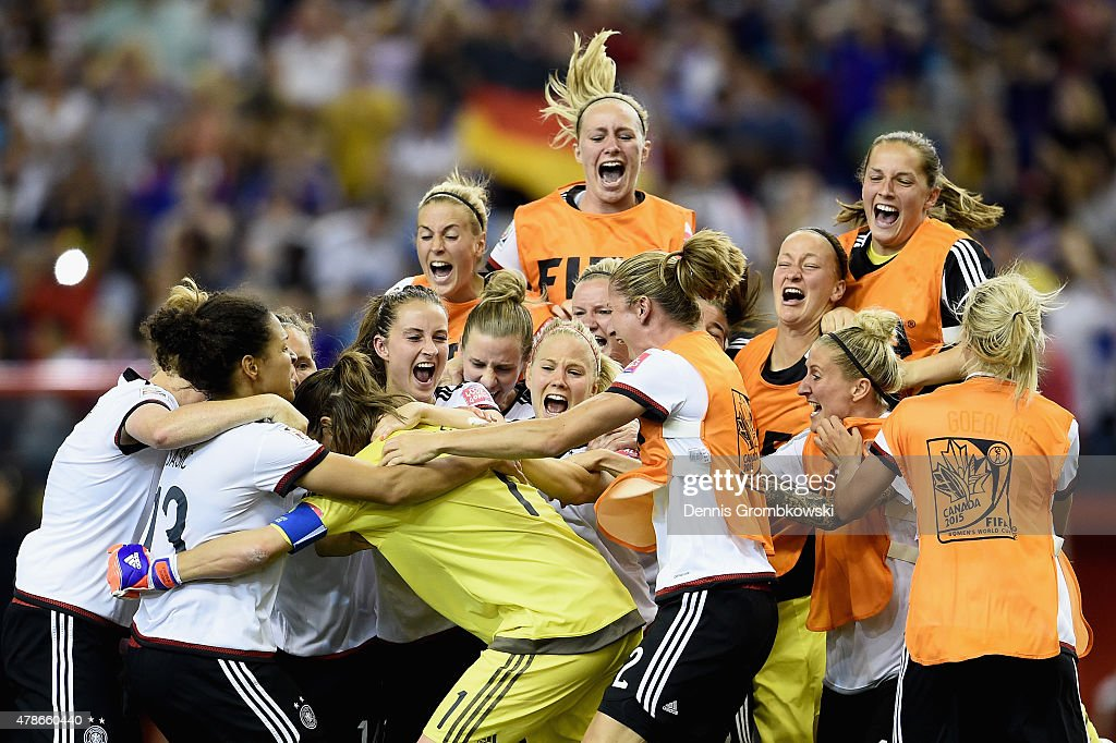 Nadine Angerer of Germany celebrates with team mates as she saves the final penalty during the FIFA Women's World Cup Canada 2015 Quarter Final match between Germany and France at Olympic Stadium on June 26, 2015 in Montreal, Canada.