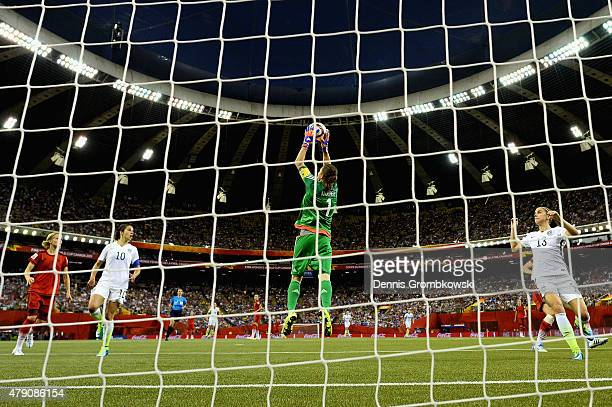 Nadine Angerer of Germany does a save in the FIFA Women's World Cup 2015 SemiFinal Match at Olympic Stadium on June 30 2015 in Montreal Canada