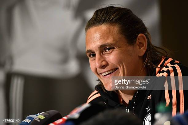 Nadine Angerer of Germany faces the media during a press conference at The Westin Hotel on June 18 2015 in Ottawa Canada