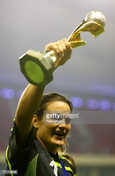 Nadine Angerer of Germany lifts the Women's World Cup at the end of the Women's World Cup 2007 Final between Brazil and Germany at Shanghai Hongkou...