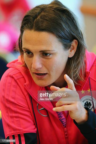 Nadine Angerer of Germany takes part in a media day at Hilton Munich Park Hotel ahead of UEFA Women's Euro 2013 on June 30 2013 in Munich Germany